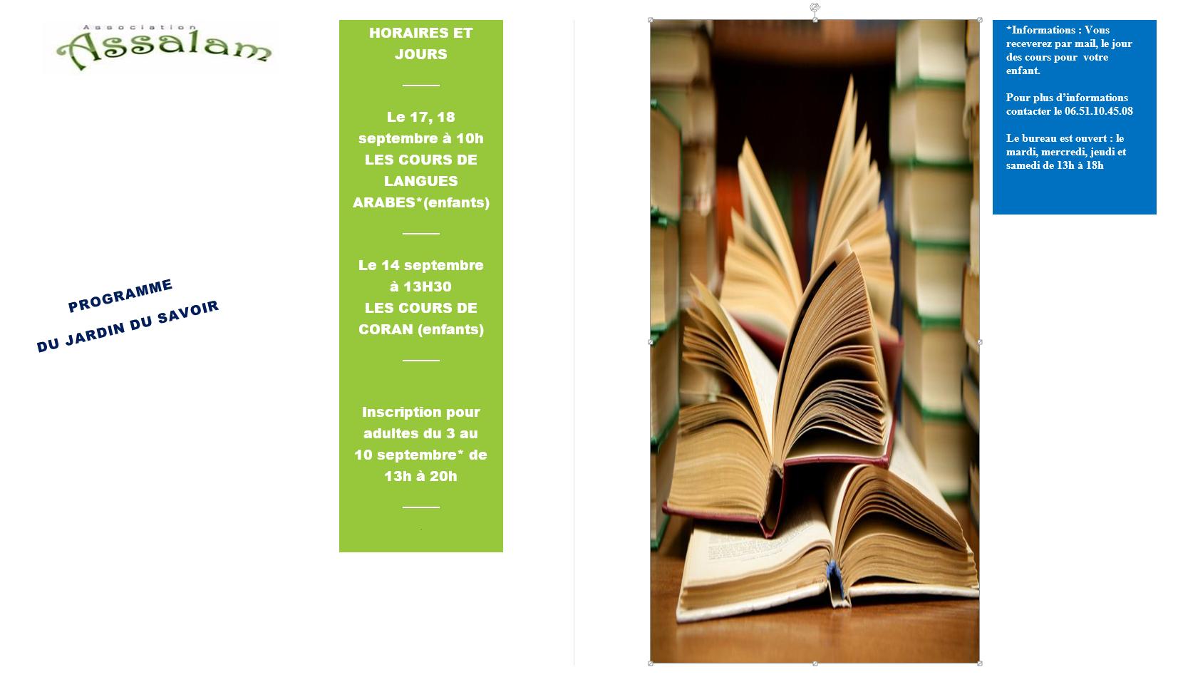 Programme du jardin du savoir association assalam for Programme jardin